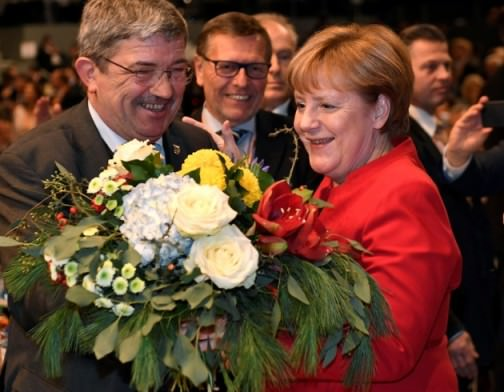Merkel, re-elected leader of the German conservatives