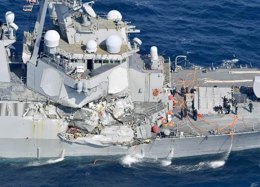 Find the bodies of the 7 missing in the crash of the US destroyer